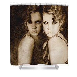 Shower Curtain featuring the painting Gemini by Ragen Mendenhall