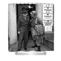 Shower Curtain featuring the photograph General Eisenhower And General Ridgway  by War Is Hell Store