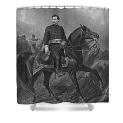 Shower Curtain featuring the mixed media General George Mcclellan On Horseback by War Is Hell Store