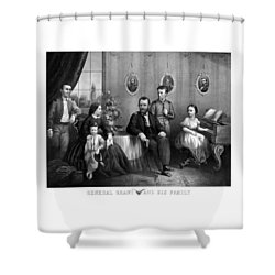 Shower Curtain featuring the mixed media General Grant And His Family by War Is Hell Store