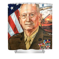 General Mattis Portrait Shower Curtain by Robert Korhonen