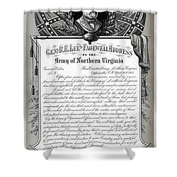 Shower Curtain featuring the mixed media General Robert E. Lee's Farewell Address To Confederate Soldiers by Daniel Hagerman