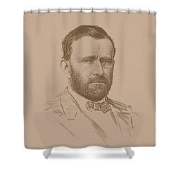 Shower Curtain featuring the mixed media General Ulysses S Grant by War Is Hell Store