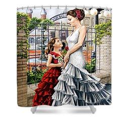 White Flamenco Shower Curtain