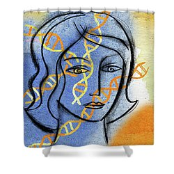Shower Curtain featuring the painting Genetics by Leon Zernitsky