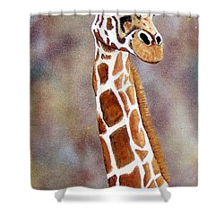 Gentle Giraffe Shower Curtain by Debbie LaFrance