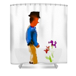 Gentleman Stops To Smell The Flowers Shower Curtain by Frank Bright