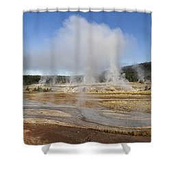 Gently Steaming Shower Curtain by Shirley Mitchell