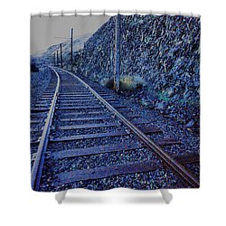 Shower Curtain featuring the photograph Gently Winding Tracks by Jeff Swan