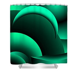Geometric Abstract In Green Shower Curtain by David Lane