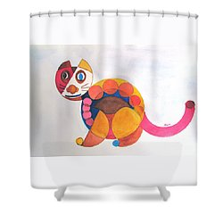 Geometric Cat Shower Curtain