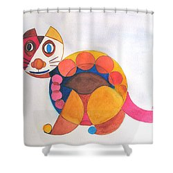 Shower Curtain featuring the painting Geometric Cat by Sandy McIntire