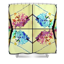 Geometric Cherry Blossoms Shower Curtain
