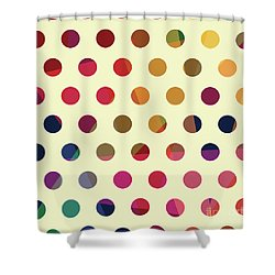 Shower Curtain featuring the mixed media Geometric Dots by Carla Bank