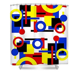 Shower Curtain featuring the digital art Geometric Shapes Abstract V 1 by Andee Design