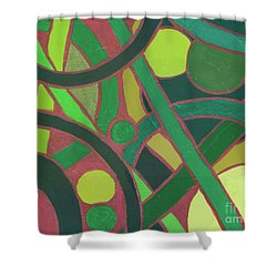 Shower Curtain featuring the painting Geometric Study Green On Copper by Ania M Milo