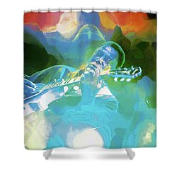 George Benson, Watercolor Shower Curtain
