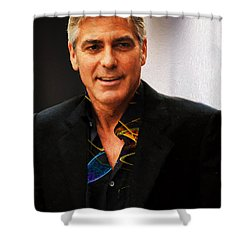 George Clooney Painting Shower Curtain