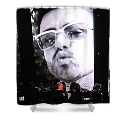 Shower Curtain featuring the photograph George Michael Sends A Kiss by Toni Hopper