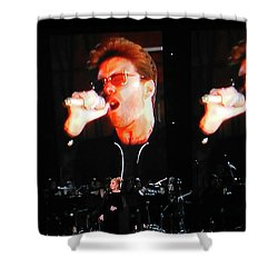 Shower Curtain featuring the photograph George Michael The Passionate Performer by Toni Hopper