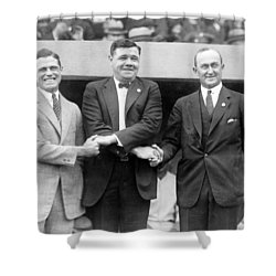 Shower Curtain featuring the photograph George Sisler - Babe Ruth And Ty Cobb - Baseball Legends by International  Images