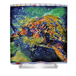 George The Turtle Shower Curtain by Erika Swartzkopf