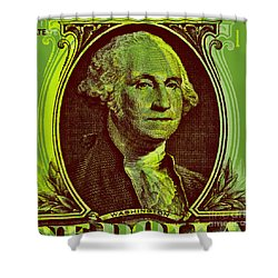 Shower Curtain featuring the digital art George Washington - $1 Bill by Jean luc Comperat