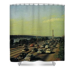 Shower Curtain featuring the photograph George Washington Bridge  by Cole Thompson