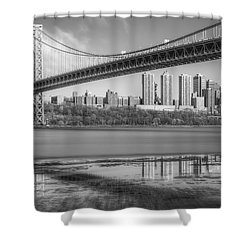 George Washington Bridge Nyc Reflections Bw Shower Curtain