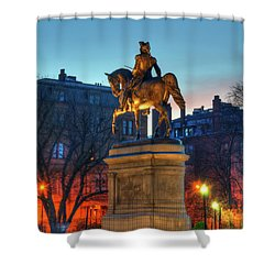 Shower Curtain featuring the photograph George Washington Statue In Boston Public Garden by Joann Vitali