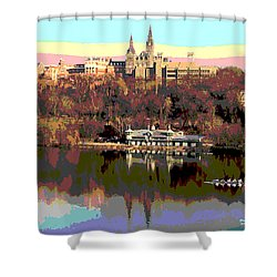 Georgetown University Crew Team Shower Curtain by Charles Shoup