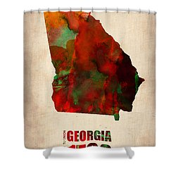 Georgia Watercolor Map Shower Curtain by Naxart Studio