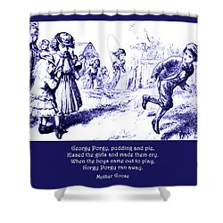 Shower Curtain featuring the painting Georgy Porgy Mother Goose Illustrated Nursery Rhyme by Marian Cates