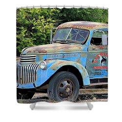 Geraine's Blue Truck Shower Curtain