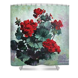 Shower Curtain featuring the painting Geranium by Elena Oleniuc