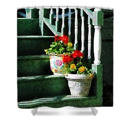 Geraniums And Pansies On Steps Shower Curtain by Susan Savad
