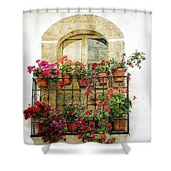 Geraniums On Balcony Shower Curtain by Dee Flouton