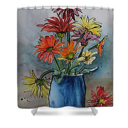 Gerberas In A Blue Pot Shower Curtain