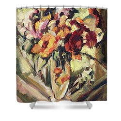 Gerberas In Glass Vase Shower Curtain