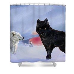Geri And Freki Shower Curtain