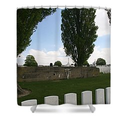 Shower Curtain featuring the photograph German Bunker At Tyne Cot Cemetery by Travel Pics