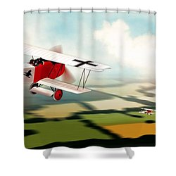 German Fokker D7 Ww1 Fighter Shower Curtain by John Wills