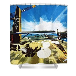 German Paratroopers Landing On Crete During World War Two Shower Curtain