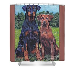 Shower Curtain featuring the painting German Pinschers by Lee Ann Shepard