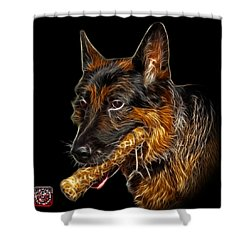 Shower Curtain featuring the digital art German Shepherd And Toy - 0745 F by James Ahn