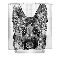 Shower Curtain featuring the painting German Shepherd Black And White By Sharon Cummings by Sharon Cummings