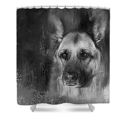 German Shepherd In Black And White Shower Curtain by Eleanor Abramson