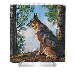 German Shepherd Lookout Shower Curtain