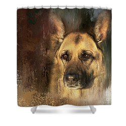 German Shepherd Portrait Color Shower Curtain by Eleanor Abramson