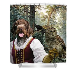 German Wirehaired Pointer Art Canvas Print - Lady Owl And Little Bears Shower Curtain